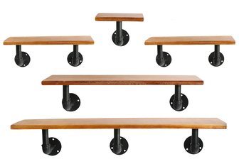 UTC27745 Wood Rectangle Wall Hanging Shelf with Black Bottom Pipe Hangers Set of 5 Natural Finish Brown