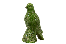 UTC28070 Ceramic Bird Figurine on a Tree Stump Gloss Finish Olive Green
