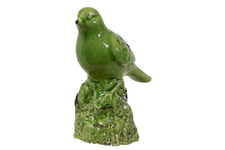 UTC28072 Ceramic Bird Figurine on a Tree Stump Gloss Finish Olive Green
