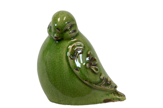 UTC28078 Ceramic Bird Figurine with Embossed Floral Design Distressed Gloss Finish Olive Green