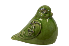 UTC28080 Ceramic Bird Figurine with Embossed Floral Design Distressed Gloss Finish Olive Green