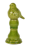 UTC28084 Ceramic Bird Figurine with Embossed Floral Design on a Pedestal Distressed Gloss Finish Olive Green