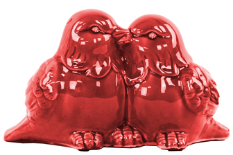 UTC28104 Ceramic Kissing Bird Couple Figurine Gloss Finish Red