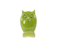 UTC28106 Ceramic Owl Figurine on Base SM Gloss Finish Yellow Green