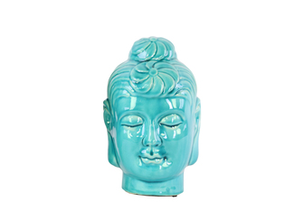 UTC28134 Ceramic Buddha Head with Bun Ushnisha SM Gloss Finish Turquoise