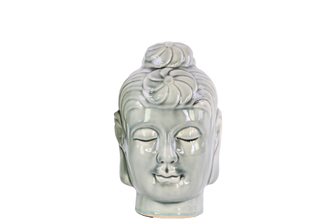 UTC28135 Ceramic Buddha Head with Bun Ushnisha SM Gloss Finish Ash Gray