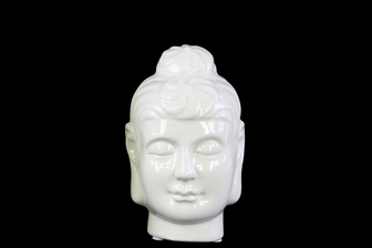 UTC28136 Ceramic Buddha Head with Bun Ushnisha SM Gloss Finish White
