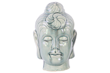 UTC28138 Ceramic Buddha Head with Bun Ushnisha LG Gloss Finish Ash Gray