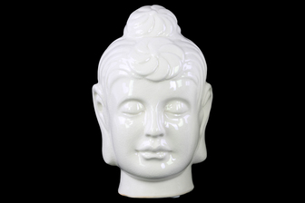 UTC28139 Ceramic Buddha Head with Bun Ushnisha LG Gloss Finish White