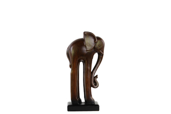 UTC28314 Ceramic Standing Long-legged Elephant Figurine on Base SM Glaze Finish Espresso Brown