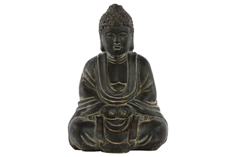 UTC28316 Terracotta Meditating Buddha Figurine with Rounded Ushnisha Weathered Finish Charcoal Gray
