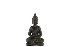 UTC28321 Ceramic Meditating Buddha Figurine with Rounded Ushnisha in Dhyana Mudra SM Weathered Finish Charcoal Gray