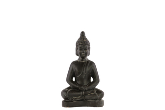 UTC28321 Terracotta Meditating Buddha Figurine with Rounded Ushnisha in Dhyana Mudra SM Weathered Finish Charcoal Gray