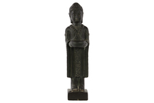 UTC28322 Ceramic Standing Buddha Figurine with Rounded Ushnisha Holding Bowl on Base Weathered Finish Charcoal Gray