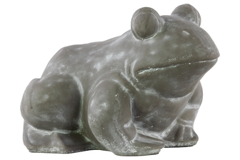 UTC28325 Terracotta Sitting Frog Figurine Distressed Finish Gray