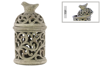 UTC28326 Cement Round Lantern with Sculpted Swirl Cutout Design LG Concrete Finish Gray