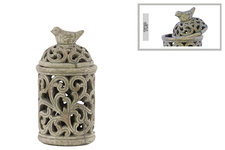 UTC28327 Terracotta Round Lantern with Sculpted Swirl Cutout Design SM Distressed Finish Gray