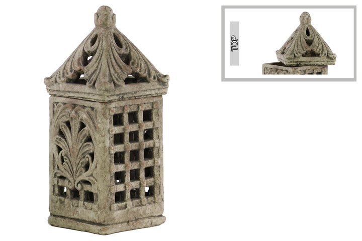 UTC28328 Terracotta Square Lantern with Sculpted Swirl Cutout Design LG Distressed Finish Gray