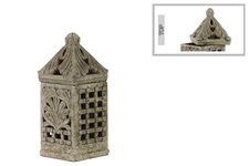 UTC28329 Terracotta Square Lantern with Sculpted Swirl Cutout Design SM Distressed Finish Gray