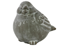 UTC28331 Terracotta Bird Figurine Looking Left Washed Finish Gray