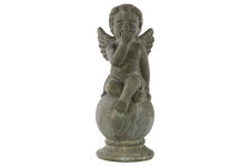 UTC28332 Terracotta Sitting Cherub Figurine on Spherical Pedestal Washed Finish Gray