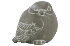 UTC28333 Cement Bird Figurine Looking Right Washed Concrete Finish Gray