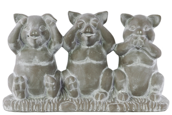 UTC28334 Terracotta Sitting Pig No Evil (Hear/See/Speak) Figurine on Base Washed Finish Gray