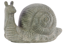UTC28337 Cement Snail Figurine Washed Concrete Finish Gray