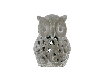 UTC28339 Cement Owl Figurine with Cutout Design SM Washed Concrete Finish Gray