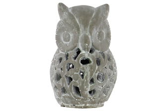 UTC28340 Cement Owl Figurine with Cutout Design LG Washed Concrete Finish Gray