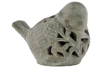 UTC28341 Terracotta Bird Figurine Looking Right with Floral Cutout Design Washed Finish Gray