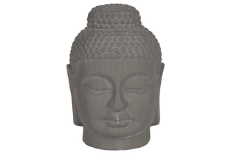 UTC28344 Ceramic Buddha Head with Rounded Ushnisha Washed Concrete Finish Gray