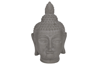 UTC28345 Terracotta Buddha Head with Pointed Ushnisha Washed Finish Gray