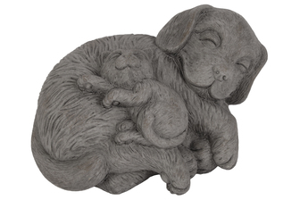 UTC28353 Terracotta Laying Beagle Dog Figurine with Kitten on Stomach Distressed Finish Gray