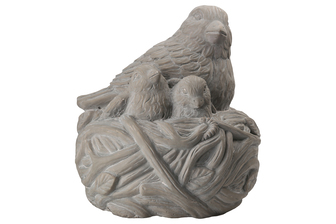 UTC28364 Terracotta Hollow Birds Nest Figurine Washed Finish Dark Gray