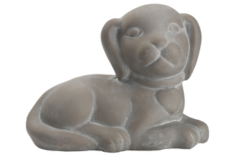 UTC28370 Terracotta Lying Dog Figurine Facing Right Position Coated Finish Dark Gray