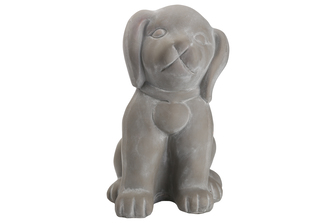 UTC28371 Terracotta Sitting Dog Figurine Coated Finish Dark Gray