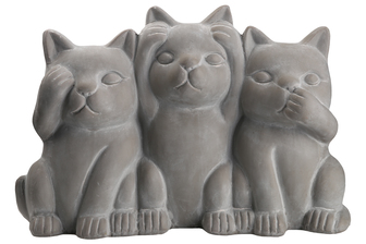 UTC28375 Terracotta Hollow Cats No Evil (Hear/Speak/See) Figurine Washed Dark Gray