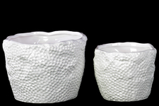 UTC28600 Ceramic Round Uneven Pot with Tapered Bottom Set of Two Dimpled Gloss Finish White