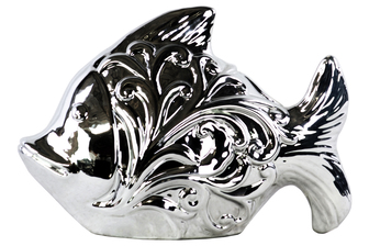 UTC28636 Ceramic Fish Figurine with Embossed Swirl Design Polished Chrome Finish Silver
