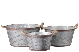 UTC30317 Metal Round Basket with Tapered Bottom, 2 Rope Handles and Cutout Pattern Design Body Set of Three Galvanized Finish Gray