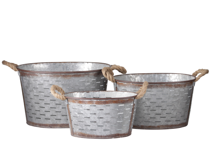UTC30318 Metal Oval Basket with Tapered Bottom,2 Rope Handles and Cutout Pattern Design Body Set of Three Galvanized Finish Gray