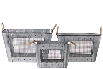 UTC30319 Metal Rectangular Basket with Tapered Bottom, 2 Rope Handles and Metal Screen Side Set of Three Galvanized Finish Gray