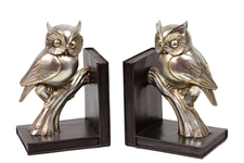 UTC30404 Resin Owl on a Branch on Base Bookend Set of Two Coated Finish Gold