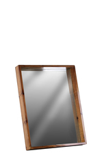 UTC30835 Wood Rectangular Wall Mirror with Protruding Frame SM Varnished Wood Finish Brown