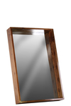 UTC30836 Wood Rectangular Wall Mirror with Protruding Frame MD Varnished Wood Finish Brown