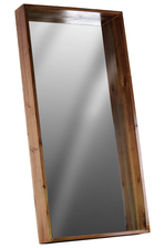 UTC30837 Wood Rectangular Wall Mirror with Protruding Frame LG Varnished Wood Finish Brown