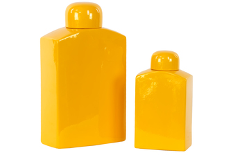UTC30941 Ceramic Rectangular 160 oz. and 60 oz. Canister with Round Lid Set of Two Matte Finish Amber