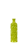 UTC30956 Ceramic Round Bottle Vase with Short Neck SM Wrinkled Gloss Finish Yellow Green
