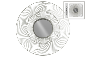 UTC31002 Metal Round Wall Mirror with Sunburst Design Frame Metallic Finish Silver